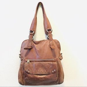 Perlina New York Distressed Hobo Leather Bag